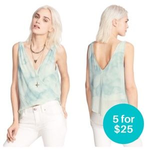 5/$25 - Free People To the Sea Wrap Top Blue XS